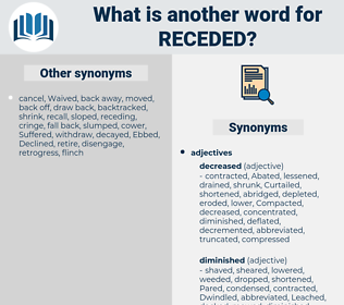 Receded, synonym Receded, another word for Receded, words like Receded, thesaurus Receded