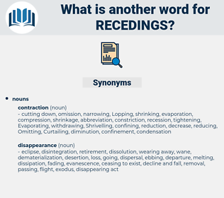 recedings, synonym recedings, another word for recedings, words like recedings, thesaurus recedings