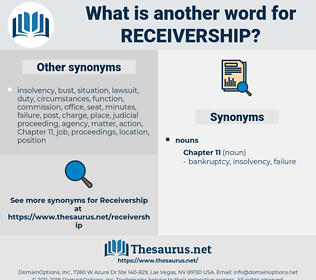 receivership, synonym receivership, another word for receivership, words like receivership, thesaurus receivership