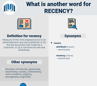 recency, synonym recency, another word for recency, words like recency, thesaurus recency