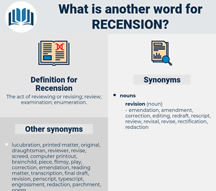Recension, synonym Recension, another word for Recension, words like Recension, thesaurus Recension