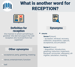 reception, synonym reception, another word for reception, words like reception, thesaurus reception