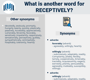receptively, synonym receptively, another word for receptively, words like receptively, thesaurus receptively
