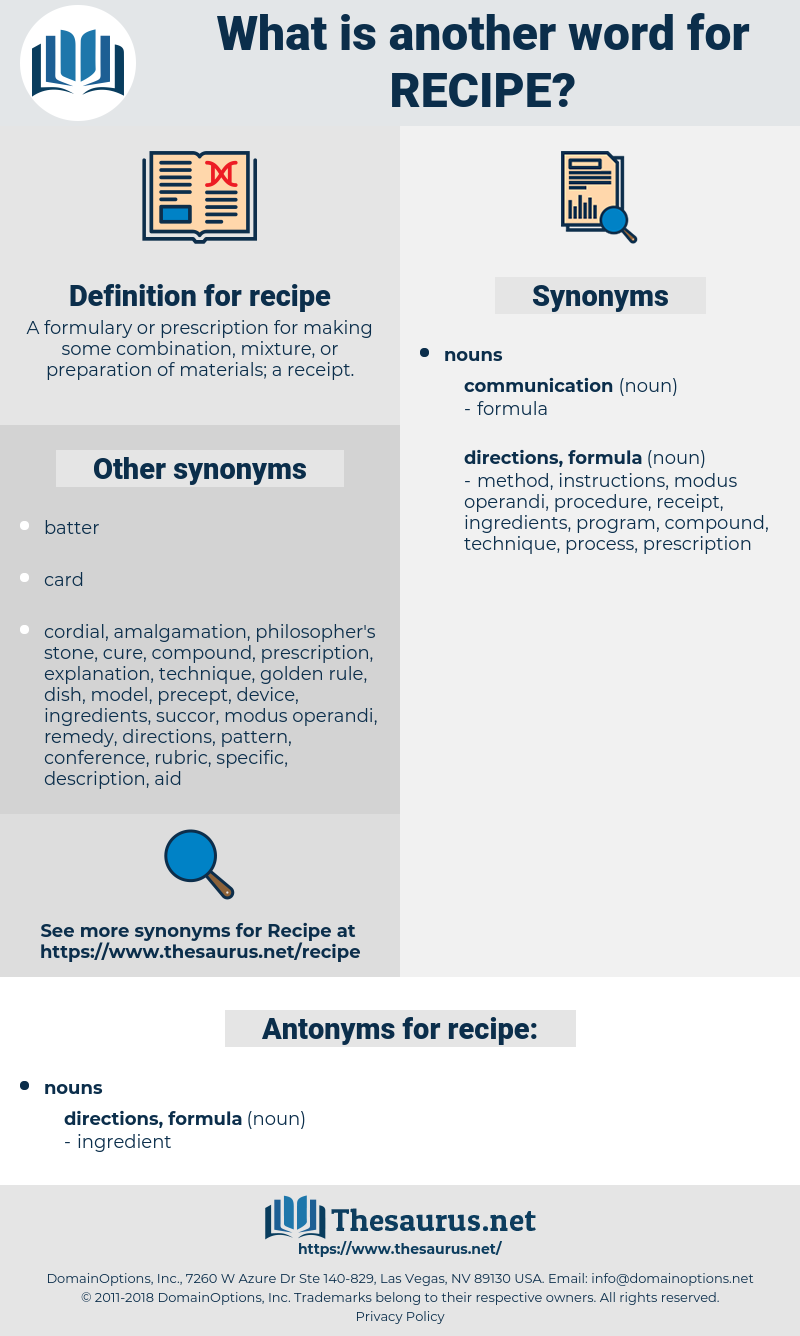 recipe, synonym recipe, another word for recipe, words like recipe, thesaurus recipe