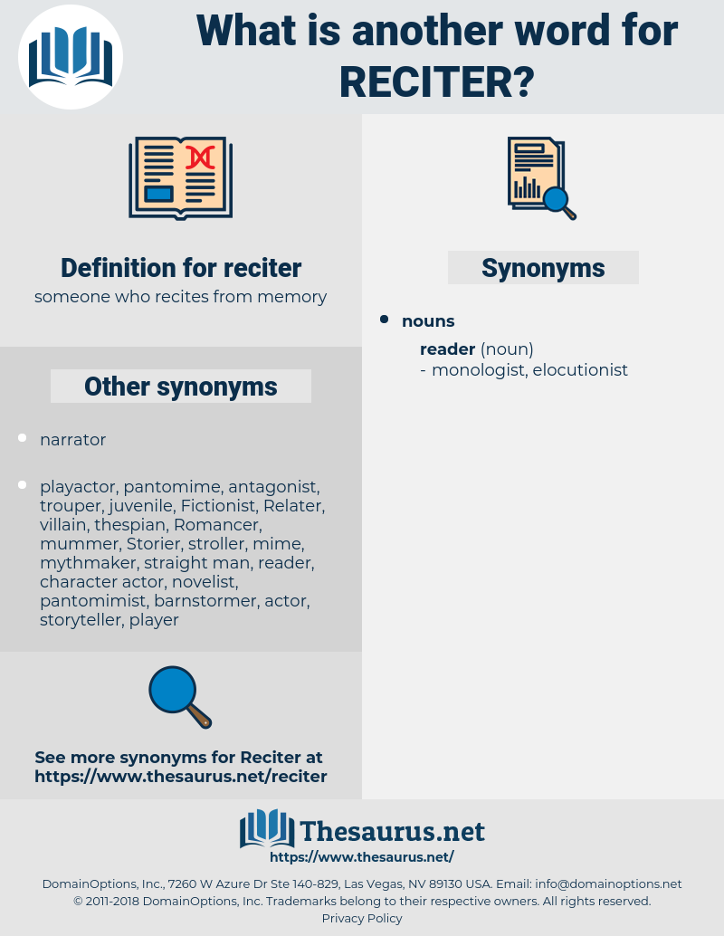 reciter, synonym reciter, another word for reciter, words like reciter, thesaurus reciter