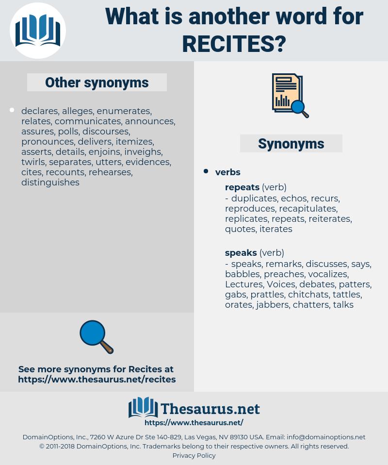 recites, synonym recites, another word for recites, words like recites, thesaurus recites