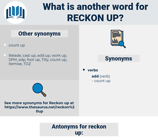 reckon up, synonym reckon up, another word for reckon up, words like reckon up, thesaurus reckon up