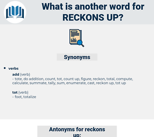 reckons up, synonym reckons up, another word for reckons up, words like reckons up, thesaurus reckons up