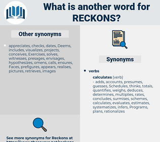reckons, synonym reckons, another word for reckons, words like reckons, thesaurus reckons