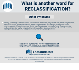 reclassification, synonym reclassification, another word for reclassification, words like reclassification, thesaurus reclassification