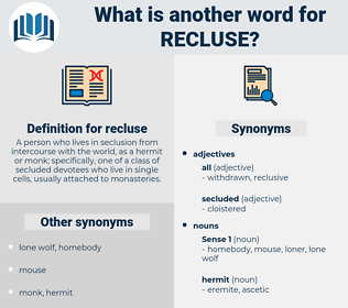 recluse, synonym recluse, another word for recluse, words like recluse, thesaurus recluse