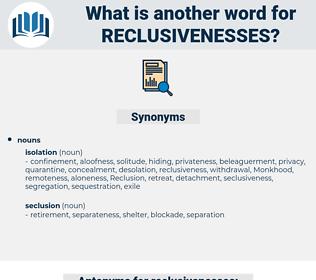 reclusivenesses, synonym reclusivenesses, another word for reclusivenesses, words like reclusivenesses, thesaurus reclusivenesses