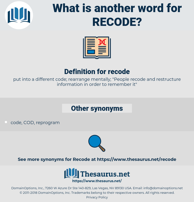recode, synonym recode, another word for recode, words like recode, thesaurus recode