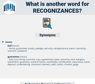 recognizances, synonym recognizances, another word for recognizances, words like recognizances, thesaurus recognizances