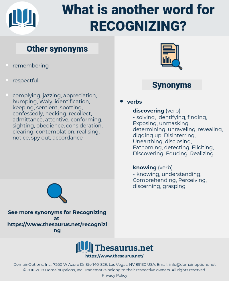 Recognizing, synonym Recognizing, another word for Recognizing, words like Recognizing, thesaurus Recognizing