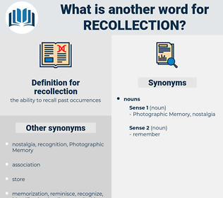 recollection, synonym recollection, another word for recollection, words like recollection, thesaurus recollection