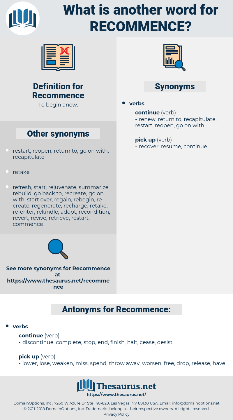 Recommence, synonym Recommence, another word for Recommence, words like Recommence, thesaurus Recommence