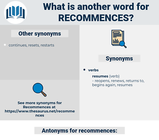 recommences, synonym recommences, another word for recommences, words like recommences, thesaurus recommences