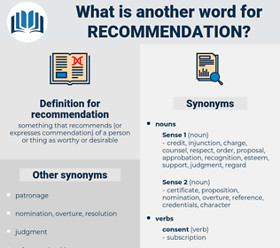 recommendation, synonym recommendation, another word for recommendation, words like recommendation, thesaurus recommendation