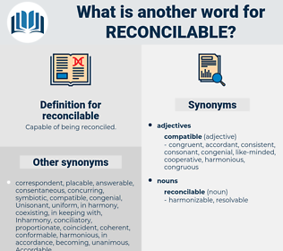 reconcilable, synonym reconcilable, another word for reconcilable, words like reconcilable, thesaurus reconcilable