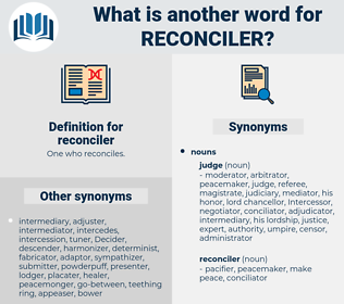 reconciler, synonym reconciler, another word for reconciler, words like reconciler, thesaurus reconciler