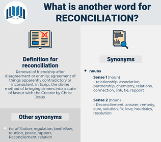 reconciliation, synonym reconciliation, another word for reconciliation, words like reconciliation, thesaurus reconciliation