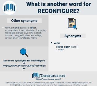 reconfigure, synonym reconfigure, another word for reconfigure, words like reconfigure, thesaurus reconfigure