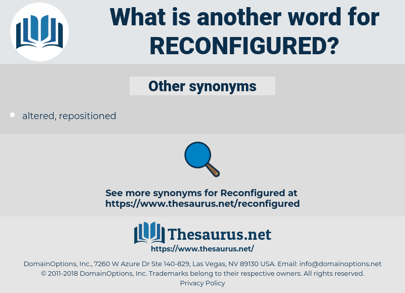 reconfigured, synonym reconfigured, another word for reconfigured, words like reconfigured, thesaurus reconfigured