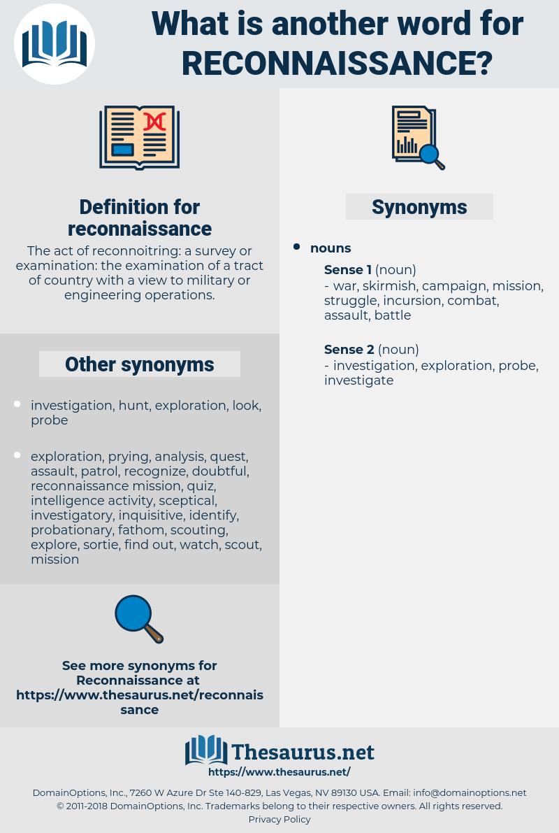 reconnaissance, synonym reconnaissance, another word for reconnaissance, words like reconnaissance, thesaurus reconnaissance