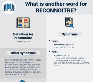reconnoitre, synonym reconnoitre, another word for reconnoitre, words like reconnoitre, thesaurus reconnoitre
