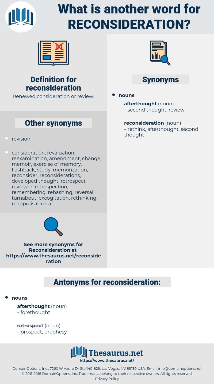 reconsideration, synonym reconsideration, another word for reconsideration, words like reconsideration, thesaurus reconsideration