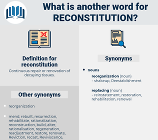 reconstitution, synonym reconstitution, another word for reconstitution, words like reconstitution, thesaurus reconstitution