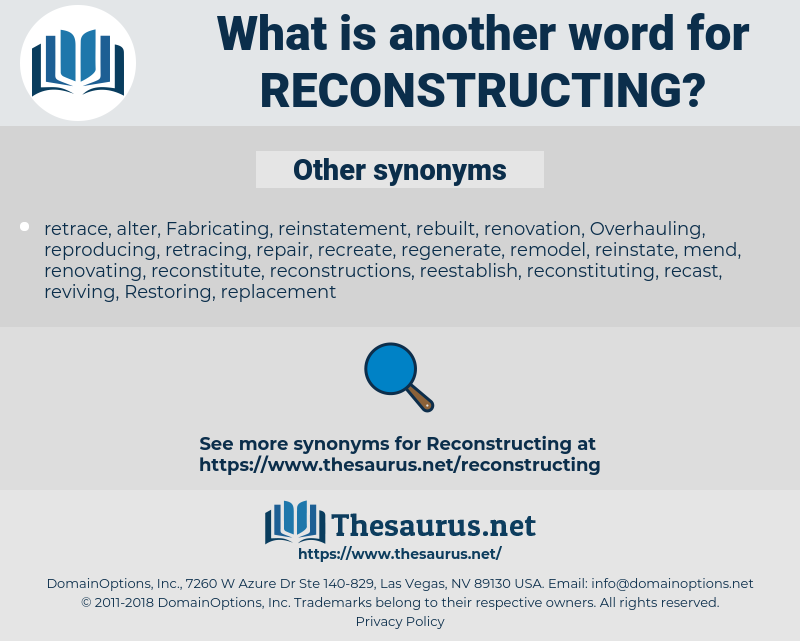 reconstructing, synonym reconstructing, another word for reconstructing, words like reconstructing, thesaurus reconstructing