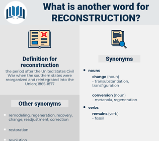reconstruction, synonym reconstruction, another word for reconstruction, words like reconstruction, thesaurus reconstruction