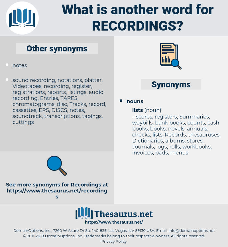 recordings, synonym recordings, another word for recordings, words like recordings, thesaurus recordings