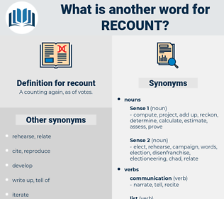 recount, synonym recount, another word for recount, words like recount, thesaurus recount