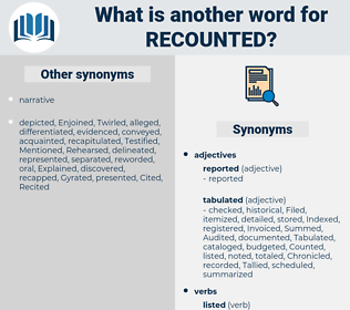 recounted, synonym recounted, another word for recounted, words like recounted, thesaurus recounted