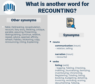 recounting, synonym recounting, another word for recounting, words like recounting, thesaurus recounting
