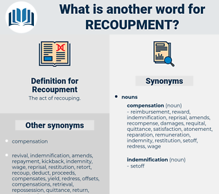 Recoupment, synonym Recoupment, another word for Recoupment, words like Recoupment, thesaurus Recoupment