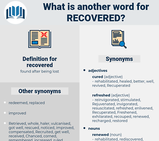 recovered, synonym recovered, another word for recovered, words like recovered, thesaurus recovered