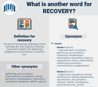 recovery, synonym recovery, another word for recovery, words like recovery, thesaurus recovery