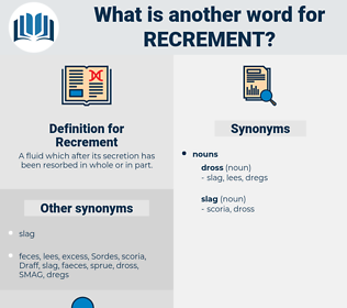 Recrement, synonym Recrement, another word for Recrement, words like Recrement, thesaurus Recrement