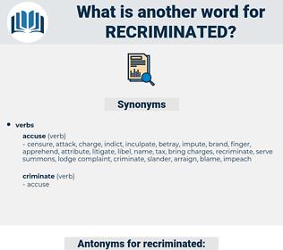 recriminated, synonym recriminated, another word for recriminated, words like recriminated, thesaurus recriminated