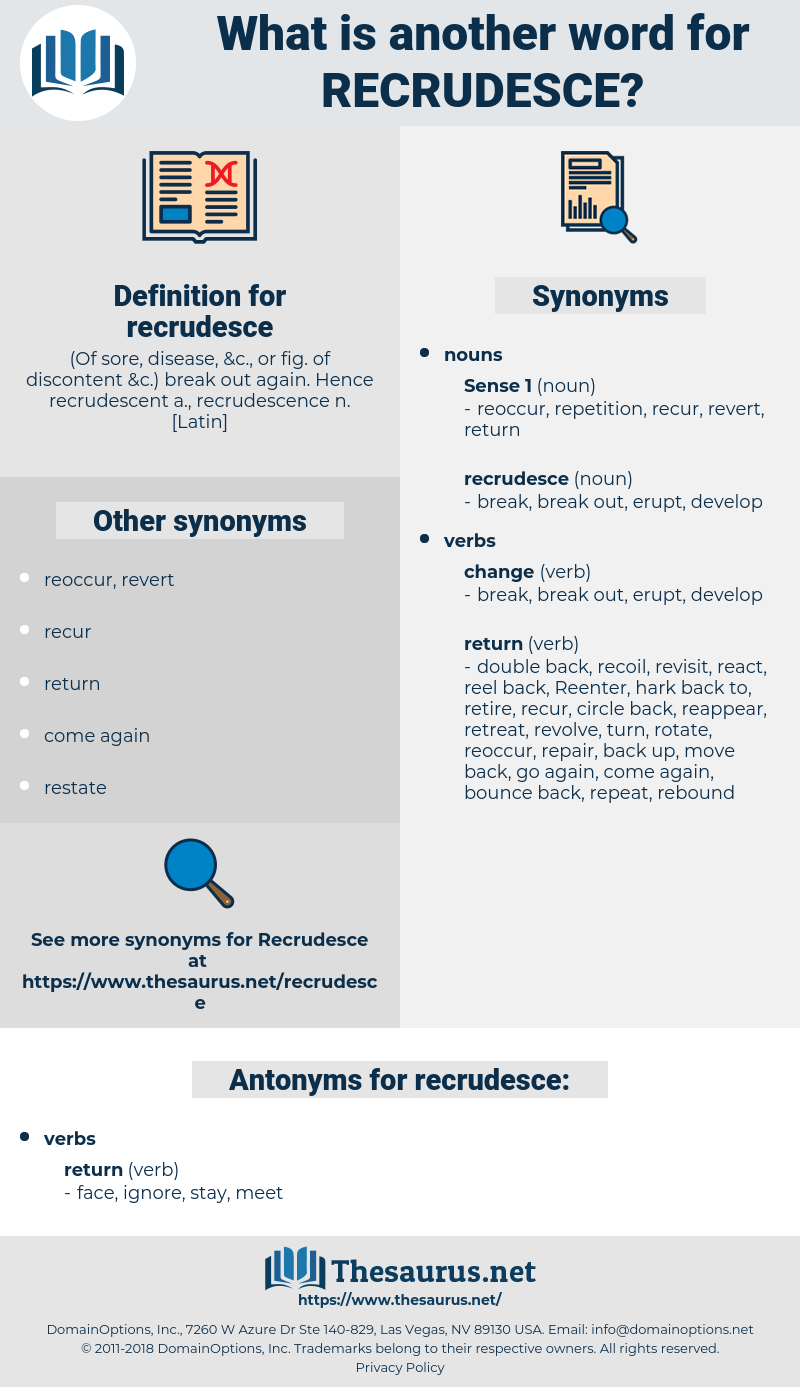 recrudesce, synonym recrudesce, another word for recrudesce, words like recrudesce, thesaurus recrudesce