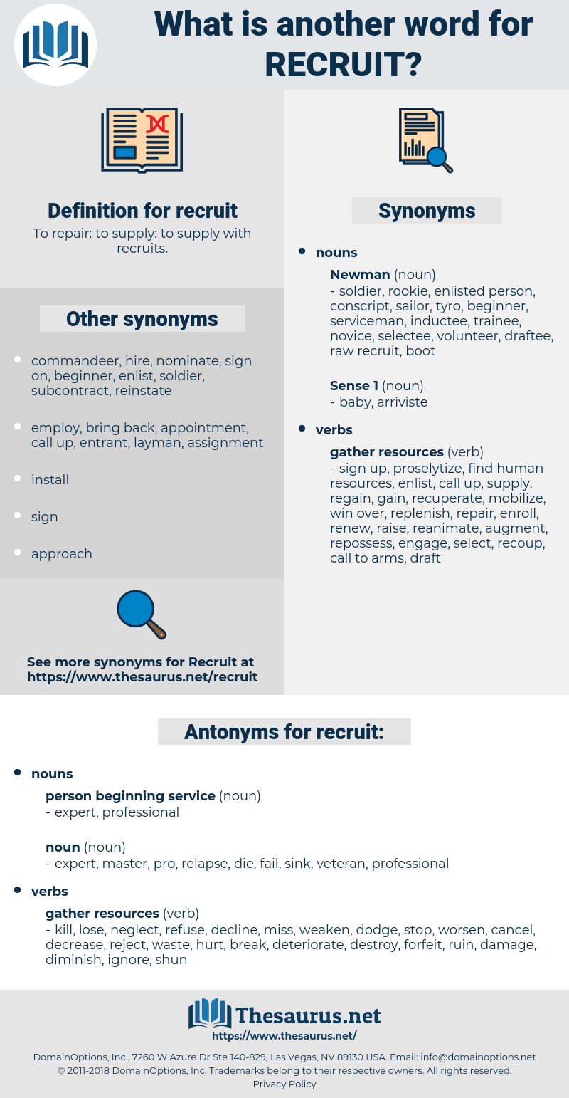 recruit, synonym recruit, another word for recruit, words like recruit, thesaurus recruit