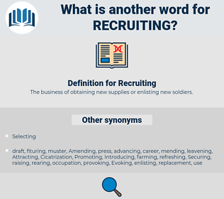 Recruiting, synonym Recruiting, another word for Recruiting, words like Recruiting, thesaurus Recruiting