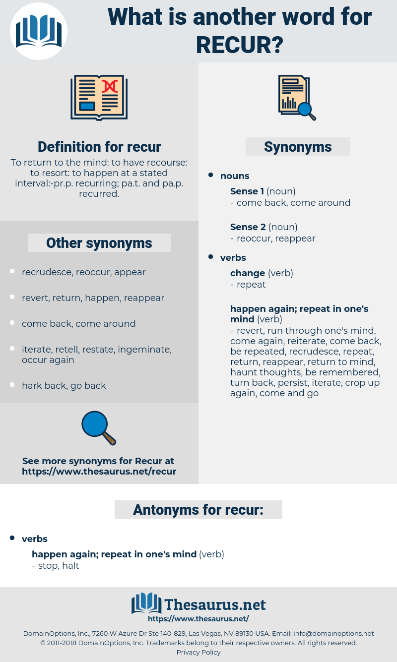 recur, synonym recur, another word for recur, words like recur, thesaurus recur