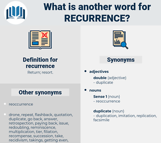 recurrence, synonym recurrence, another word for recurrence, words like recurrence, thesaurus recurrence