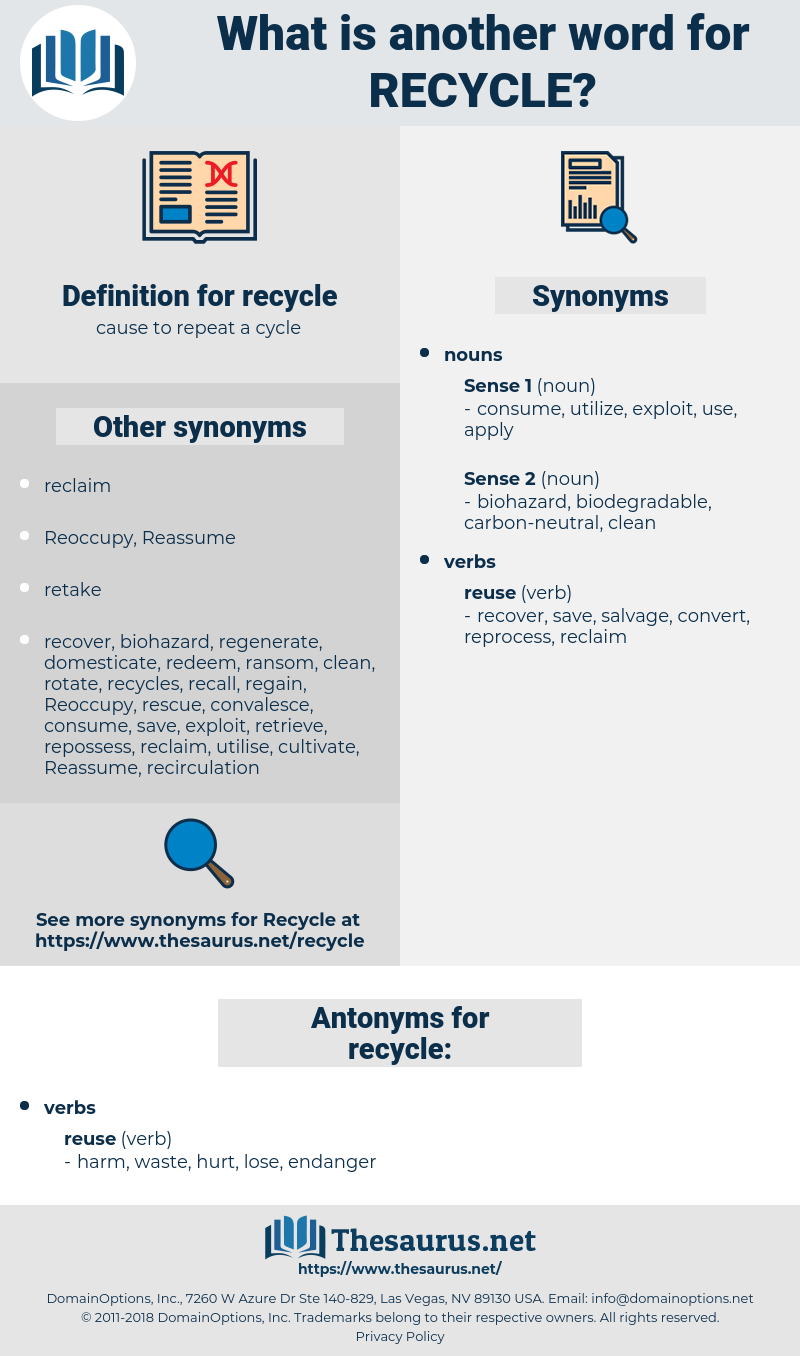 recycle, synonym recycle, another word for recycle, words like recycle, thesaurus recycle