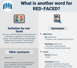 red-faced, synonym red-faced, another word for red-faced, words like red-faced, thesaurus red-faced